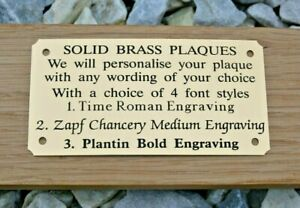 """SOLID BRASS MEMORIAL BENCH PLAQUE GRAVE SIGN PERSONALISED ENGRAVED 4""""X2"""" & 5""""x2"""""""