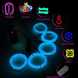 5x1m Party Neon LED Light Glow EL Wire String Strip Rope Tube Christmas Gifts