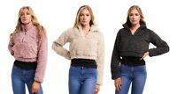 Women Cropped Borg Zip Up Top Teddy Bear Long Sleeve Coat Ladies Faux Fur Jacket