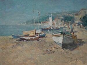 W. Thelen *1917 Ölgemälde Ölbild alt Impressionismus Italien Meer See Landschaft