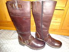 Rieker Brown Leather Knee High Flat Biker Boots Warm wool Lined Zip size 6 NEW