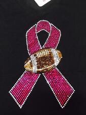 BLING Crystal Stud PINK Football BREAST CANCER Ribbon Bling Womens T Shirt NFL
