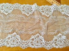 """Stretch Baby Blue Embroidered Lace Trim for Sewing/Bridal/Crafts/7.75 """" Wide"""