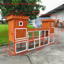 """102.8"""" PRO Wooden Rabbit Hutch Poultry Hen House Chicken Coop Two Storage Area"""