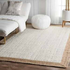 Hand Woven Braided Natural Jute area Rugs for Home Decor Bohemain Jute Rugs 4x6