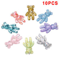 10Pcs/Set Resin Candy Bear Charms Pendants Jewelry Findings DIY Craft Making ME