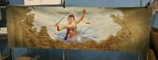 8' Large Table Playmat for Card Gaming Blue Art Female w/ Scales & Sword  LAEL06