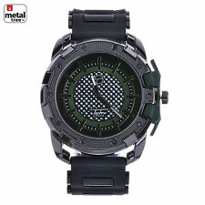 NEW XL Men's Hip Hop Fashion Analog Silicone Band Techno Pave Watches WR 8344 BK