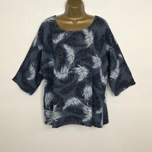 NEW Italian Tunic Top Blue Leaf Cotton Lagenlook Plus Size UK 14 16 18