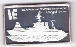 MALAWI RECTANGULAR SILVER PROOF 5 KWACHA COIN 2005 YEAR HMS HOOD BATTLE SHIP