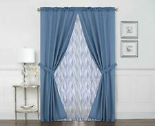 Mainstays Curtain Panel 6 Piece Set Light Filtering Blue Shimmer Waves  27 X 95