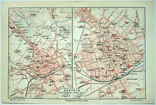 Original 1908 City Maps of Krefeld Germany by Meyers. Antique
