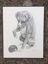 Vintage boxer dog & hedghog print on wood after Leigh Beavis West