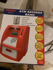ATM savings machine, with ATM card, counts coins,withdrawal function.