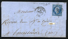 """FRANCE TOULOUSE to CARCASSONE wrapper 1858 Error stamp """"FRANC"""" - VF"""
