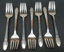 1847 ROGERS BROS Silverplate FIRST LOVE Salad Fork Set of (7)  Antique 6 3/4''