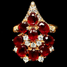 NATURAL RED RUBY & WHITE CZ RING 925 STERLING SILVER SIZE 5.75