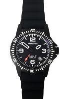 Trintec Aviation Zulu-01 Co-Pilot Automatic Men Black Steel Watch w Rubber Band+
