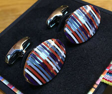 "Paul Smith Boutons de manchette ""OVAL MULTICOLORES MULTI-RAYURES"" Paul Smith"