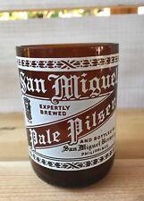 Vtg San Miguel Pale Pilsen Beer Drinking Glass Man Cave Bar Cut Smoothed Bottle