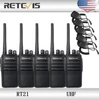 5XRetevis RT21 Walkie-Talkies UHF 2.5W 50Ω CTCSS/ DCS TOT VOX SCAN +5XMic US