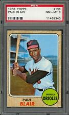 1968 Topps Paul Blair #135 - Baltimore Orioles - PSA 8 - NM-MT