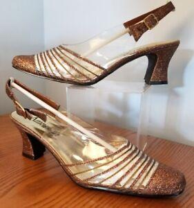 "AMANDA ""CANCUN"" Clear Vinyl Bronze/Copper Glitter Retro Slingback Heels Shoe 8½W"