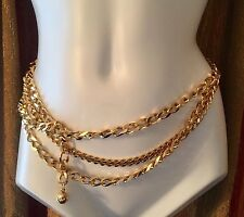 Vintage 1980's Heavy Gold Tone Runway Curb Link Chain Belt Haute Couture 36""