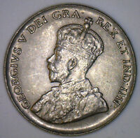 1936 Canadian Imperial Crowned Two Leaf Nickel 5 Cents Coin AU2