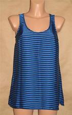 Michael Kors Size M Blue & Black Striped 100% Polyester Sleeveless Tank Cami