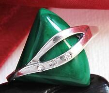 925 Silber Damen Ring mit Malachit, Zirkonia (52, 53, 54, 55, 56, 57, 58, 60)