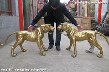 """45""""Huge Chinese Royal Feng shui Pure Brass  ferocity animal Tiger statue pair"""