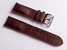 Replacement Quality Lug 26mm Brown Genuine Leather Alligator Strap Men FOSSIL