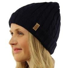 Winter 2ply Fleece Lined Stretch Cable Knit Cuff Beanie Skull Ski Hat Cap Navy