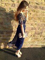 Virgos Lounge Navy Gold Denise Embellished Midi Wedding Party Dress 6 to 16 New