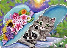 Original Raccoon Kitten Cat Garden Flowers Hat Hide and Seek Sunset ACEO Print