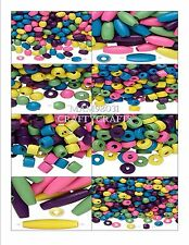 Beads WOOD COLORED Purple, Green, Yellow, Blue & Pink Various Sizes & Shapes