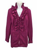Soft Surroundings Women's Size L Blouse Shirt Top Purple Ruffle Long Sleeve