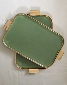 Pair Of  Vintage Aluminium Metal  Serving Trays Gold And Green 52/30cm