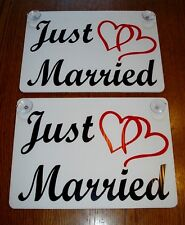 """(2) JUST MARRIED CAR WINDOW SIGNS 8""""X12"""" WITH SUCTION CUPS w/Hearts Wedding"""