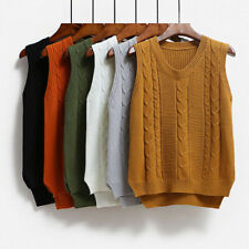 Women Knit Vest Jumper Pullover Student Sleeveless Sweater Tops Knitwear Casual