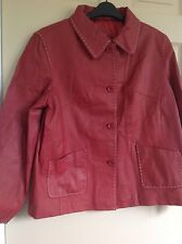 BRAND NEW, RED ,REAL LEATHER JACKET BY FOR WOMEN, UK  SIZE 16