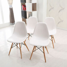 4 Dining Chairs Wooden Legs White Retro Plastic Home Office Shop Dining Room Set