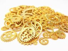 70 Steampunk Gear Charms Spurs Cogs Assorted Lot Bulk Shiny Gold Findings