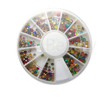 6cm NAIL ART GEMS JEWELS DESIGN CRAFT NAILS WHEEL ROUND MULTI MIXED 3d  331