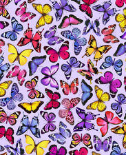 Fabric Butterflies Spring Beauty Lilac Timeless Treasures Cotton 1/4 Yard 7574