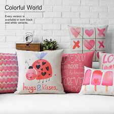Cute Pink Love Heart Geometric Linen Pillow Case Girls Gift Cushion Cover 2 size