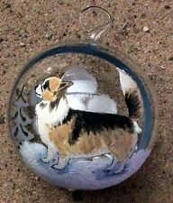 Chihuahua - long haired - Austrian  Hand Blown Glass  Ornament Hand Painted