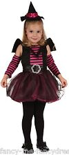 4 piezas niña Negro Rosa Bruja Disfraz de Halloween 2-3 AÑOS