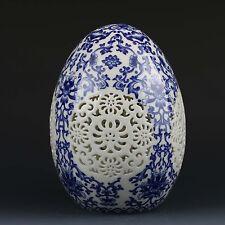 Chinese Blue & White Porcelain Handwork Painted Flower Spherical Hollow Vase